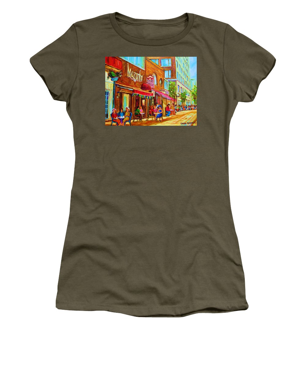 Montreal Streetscene Women's T-Shirt featuring the painting Mazurka Cafe by Carole Spandau