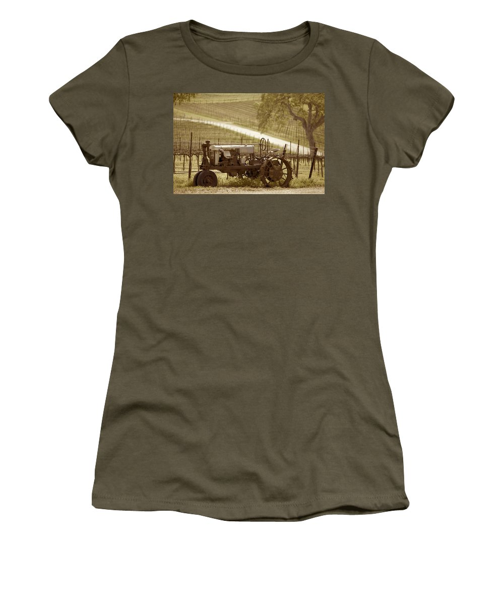 1930 Tractor Women's T-Shirt (Athletic Fit) featuring the photograph Mccormick Deering Tractor In Sepia by Brooke Roby