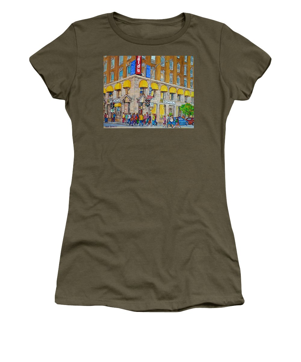 Montreal Women's T-Shirt featuring the painting Mcdonald Restaurant Old Montreal by Carole Spandau