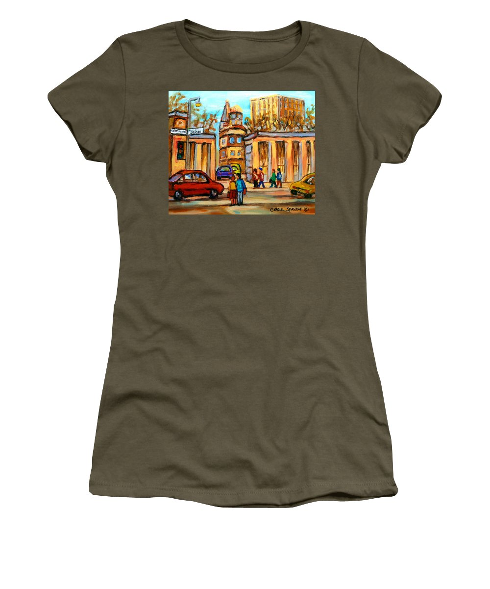 Montreal Cityscapes Women's T-Shirt (Athletic Fit) featuring the painting Mcgill Roddick Gates by Carole Spandau
