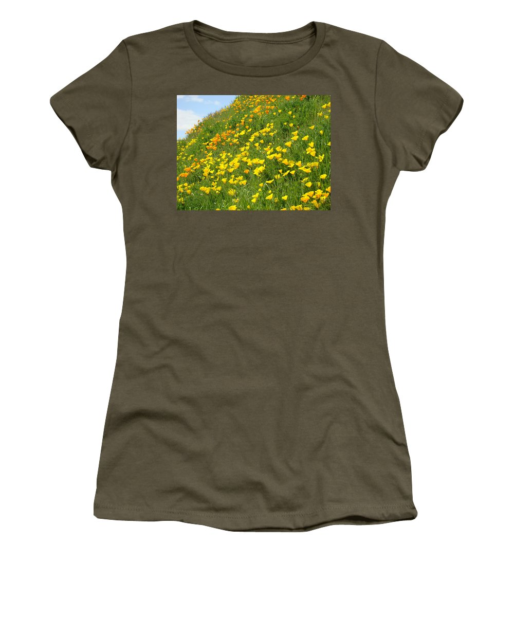 �poppies Artwork� Women's T-Shirt (Athletic Fit) featuring the photograph Meadow Hillside Poppy Flowers 8 Poppies Artwork Gifts by Baslee Troutman
