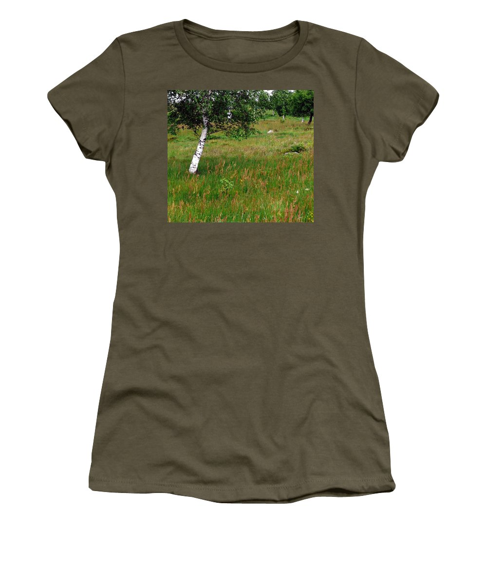 Landscape Women's T-Shirt (Athletic Fit) featuring the photograph Meadow With Birch Trees by Valerie Ornstein