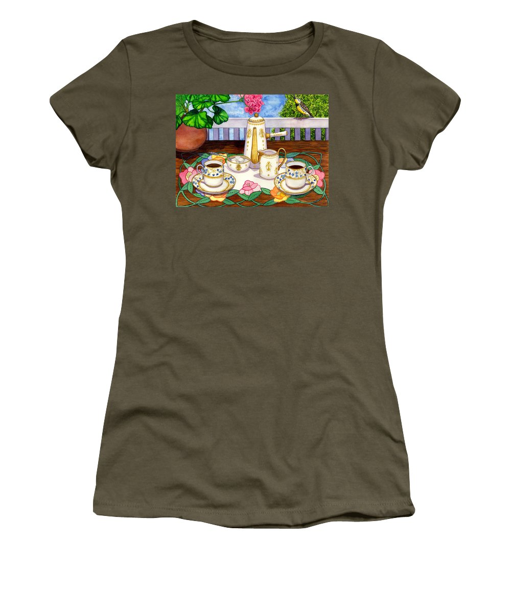 Coffee Women's T-Shirt (Athletic Fit) featuring the painting Meadowlark by Catherine G McElroy
