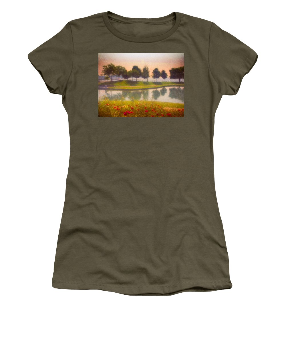 Trees Women's T-Shirt featuring the photograph Measured Reflections by Tara Turner