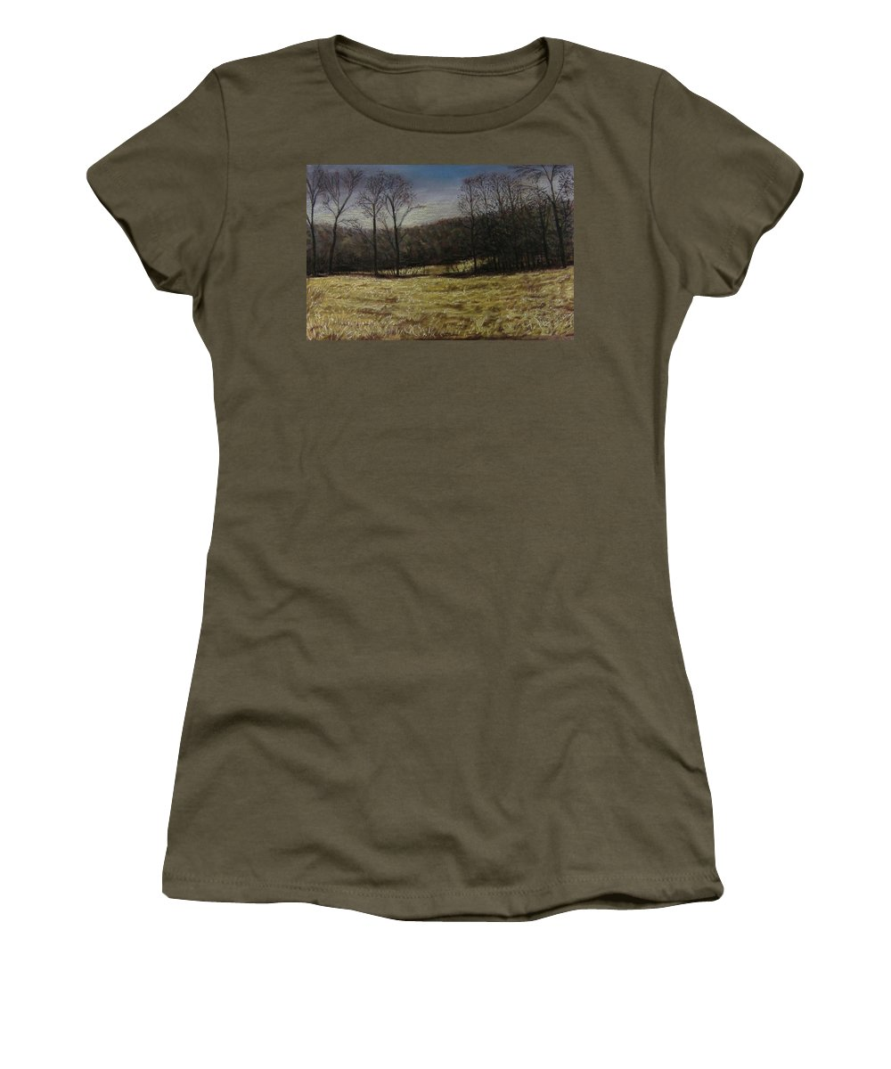 Landscape Women's T-Shirt featuring the pastel Medina Cornfield by Pat Snook
