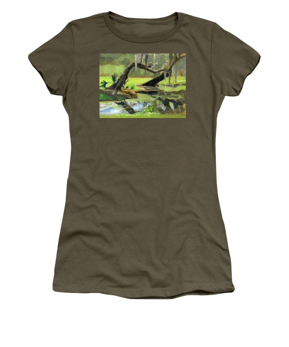 Landscape Women's T-Shirt featuring the painting Meditative Swamp by Marie Garafano
