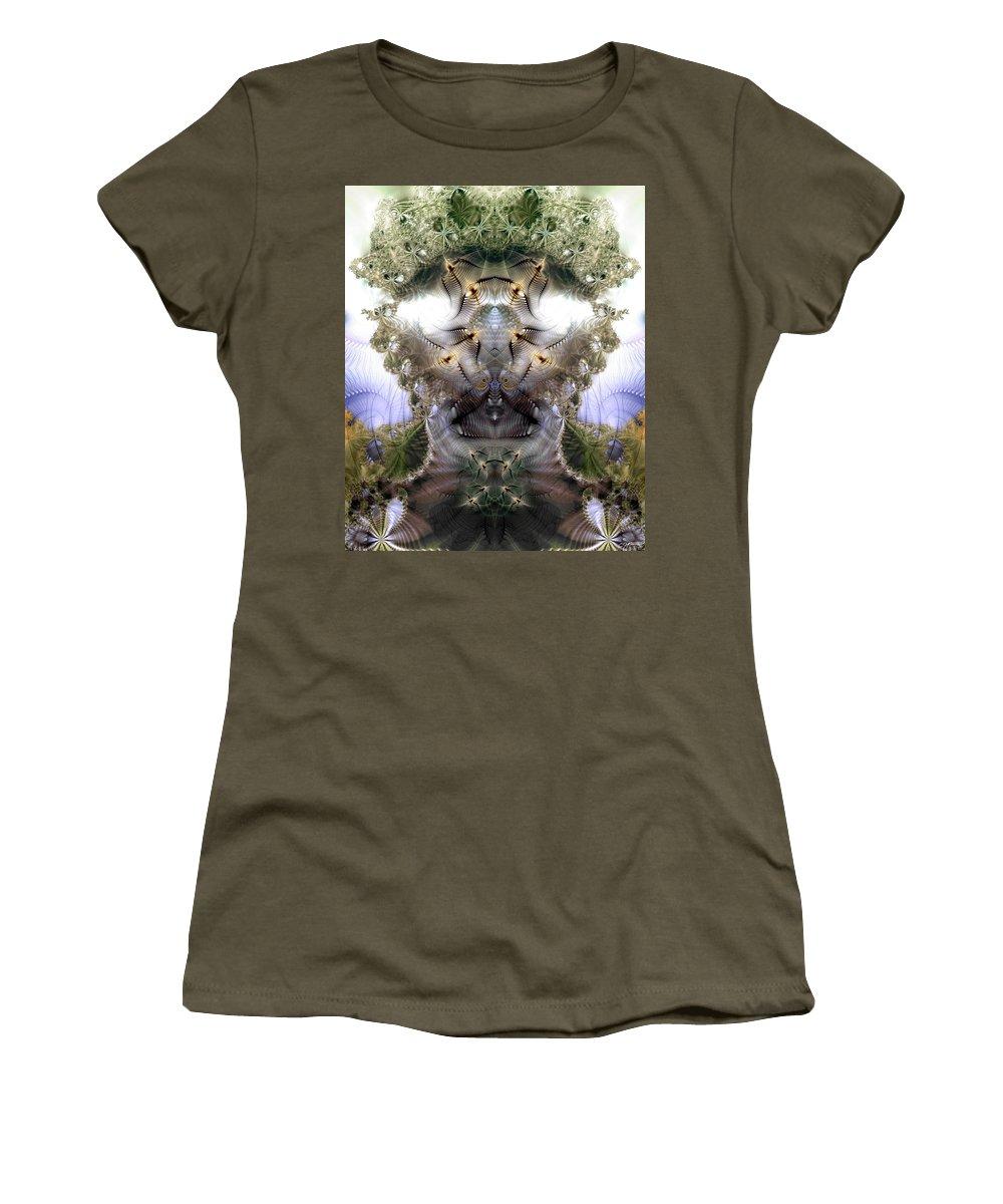 Abstract Women's T-Shirt featuring the digital art Meditative Symmetry 5 by Casey Kotas
