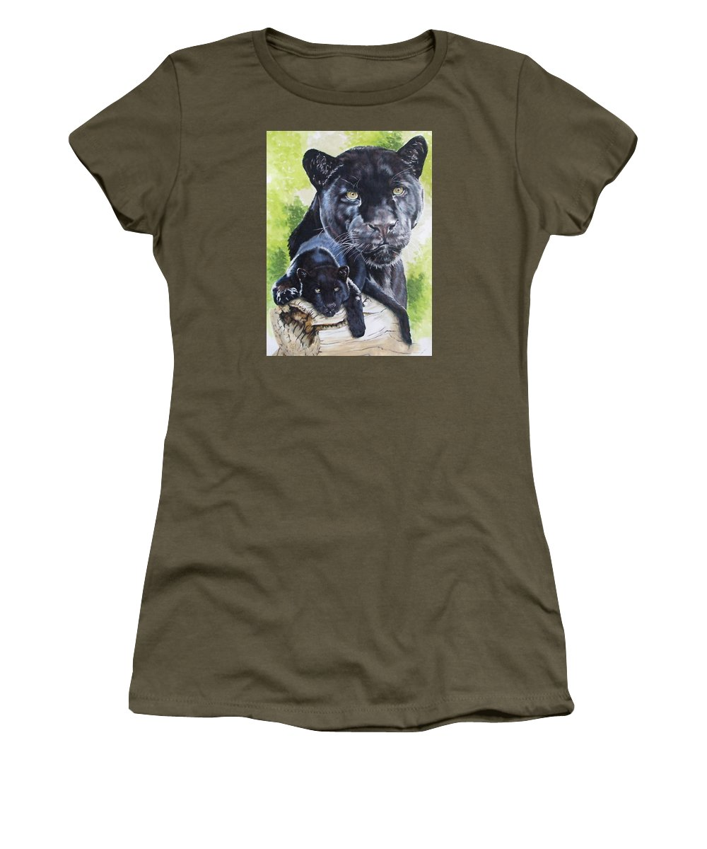 Big Cat Women's T-Shirt featuring the mixed media Melancholy by Barbara Keith
