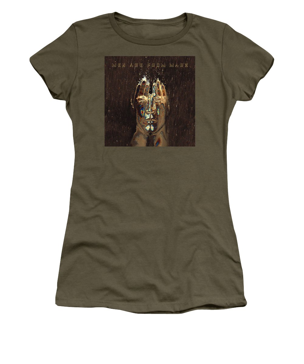 Men Women's T-Shirt featuring the digital art Men Are From Mars Gold by ISAW Gallery