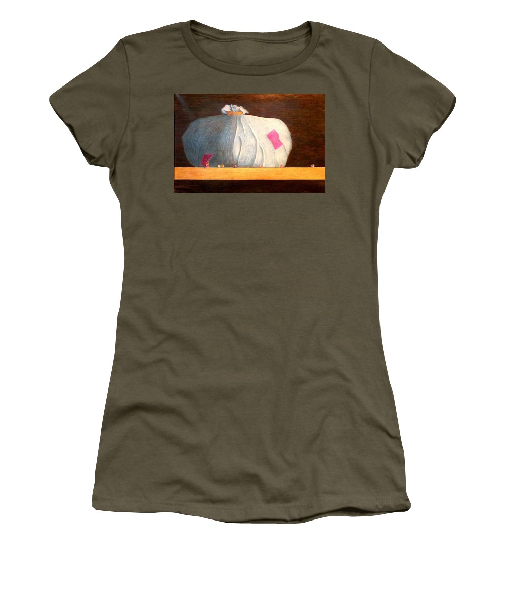 Still Life Women's T-Shirt (Athletic Fit) featuring the painting Mental Escapees by A Robert Malcom