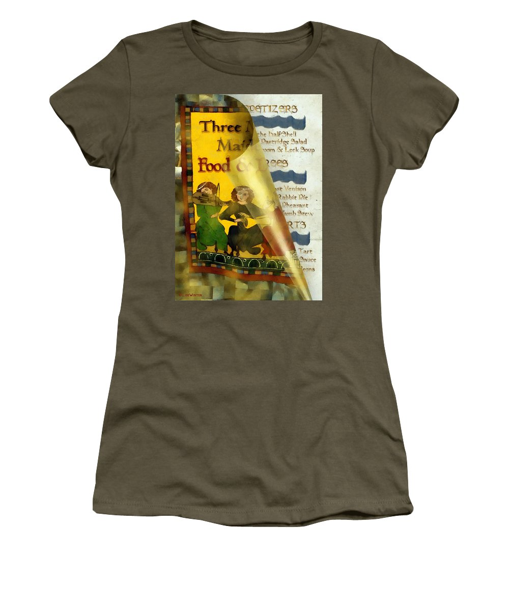 Colorful Women's T-Shirt (Athletic Fit) featuring the painting Menu From A Medieval Restaurant by RC DeWinter