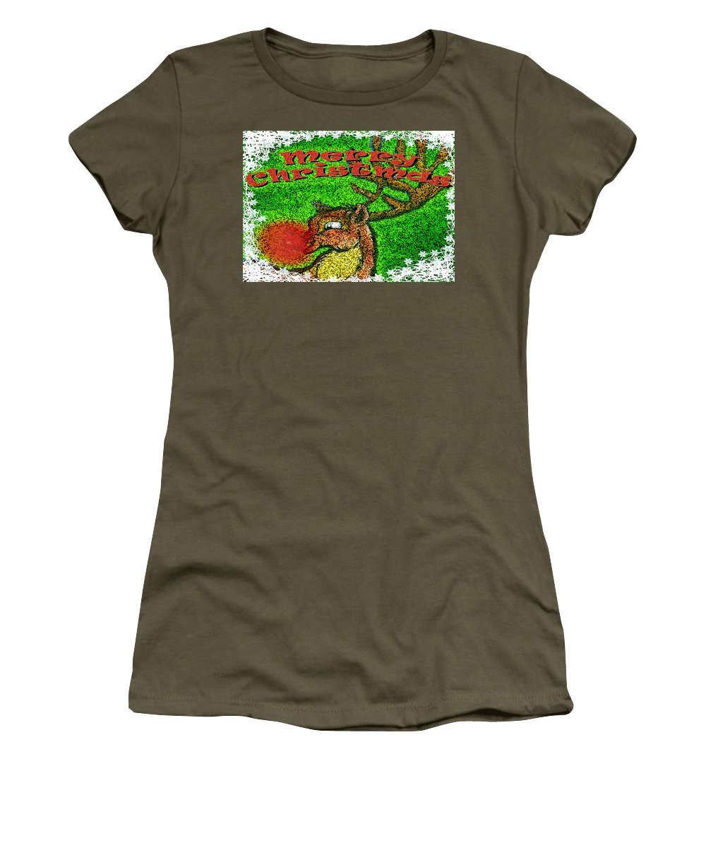 Christmas Women's T-Shirt (Athletic Fit) featuring the greeting card Merry Christmas by Kevin Middleton
