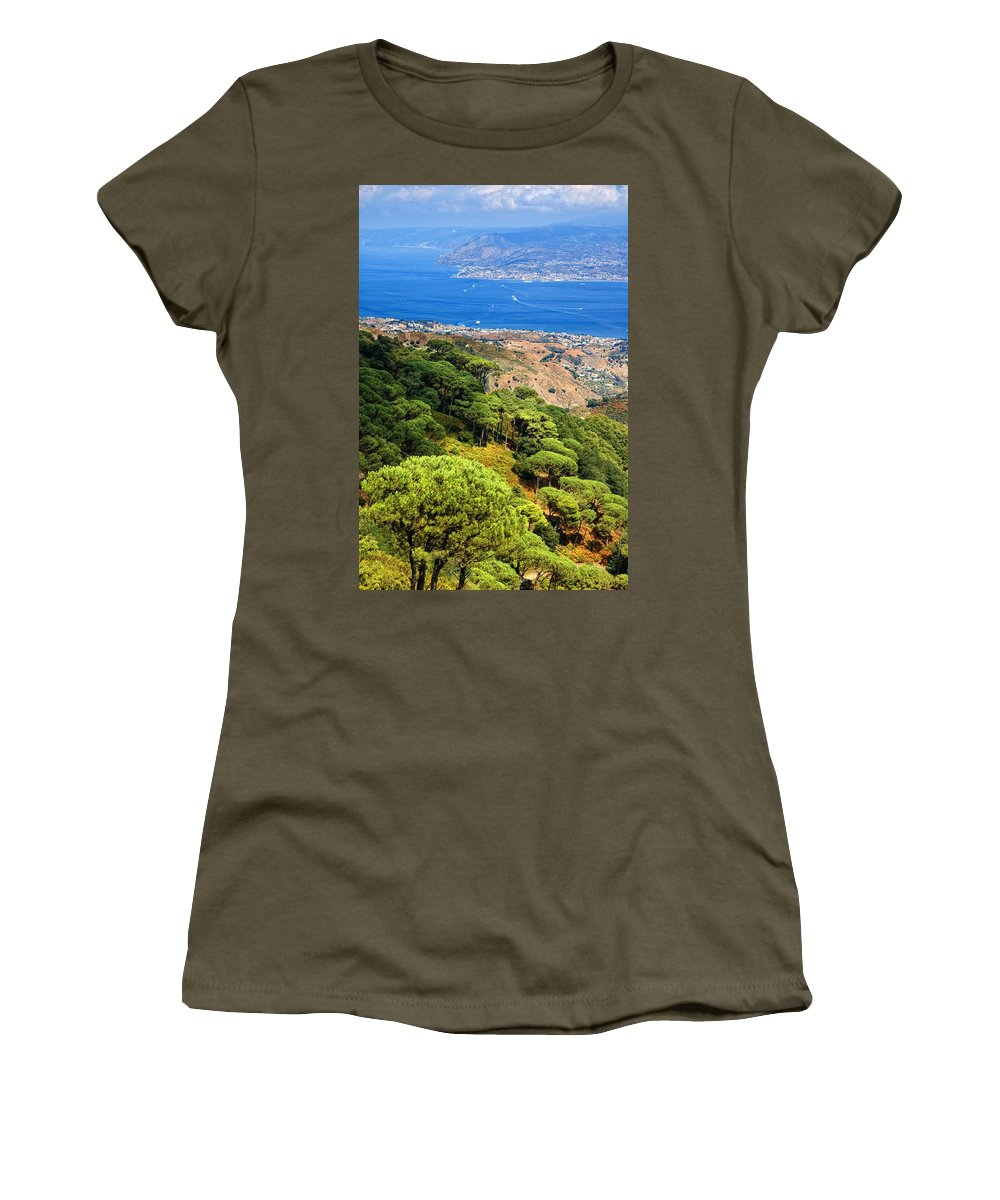 Italy Women's T-Shirt (Athletic Fit) featuring the photograph Messina Strait - Italy by Silvia Ganora