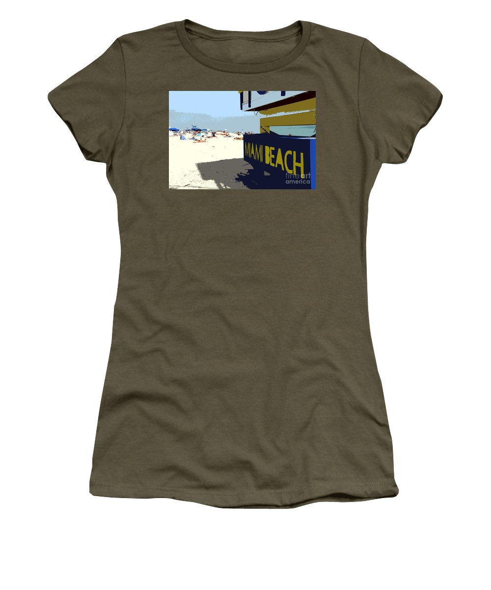 Miami Beach Florida Women's T-Shirt (Athletic Fit) featuring the photograph Miami Beach Work Number 1 by David Lee Thompson