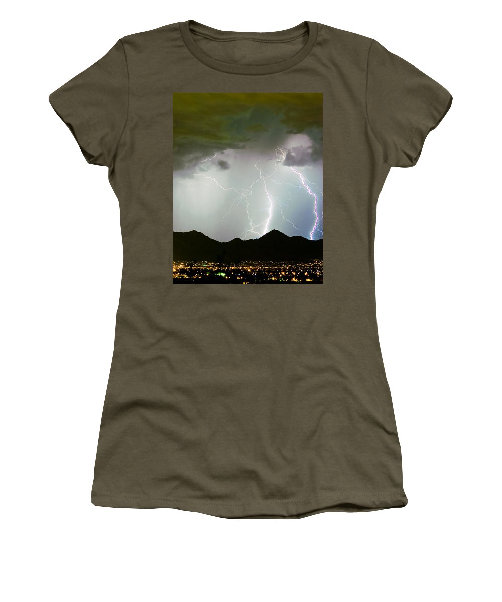 Lightning Women's T-Shirt featuring the photograph Midnight Hour by James BO Insogna
