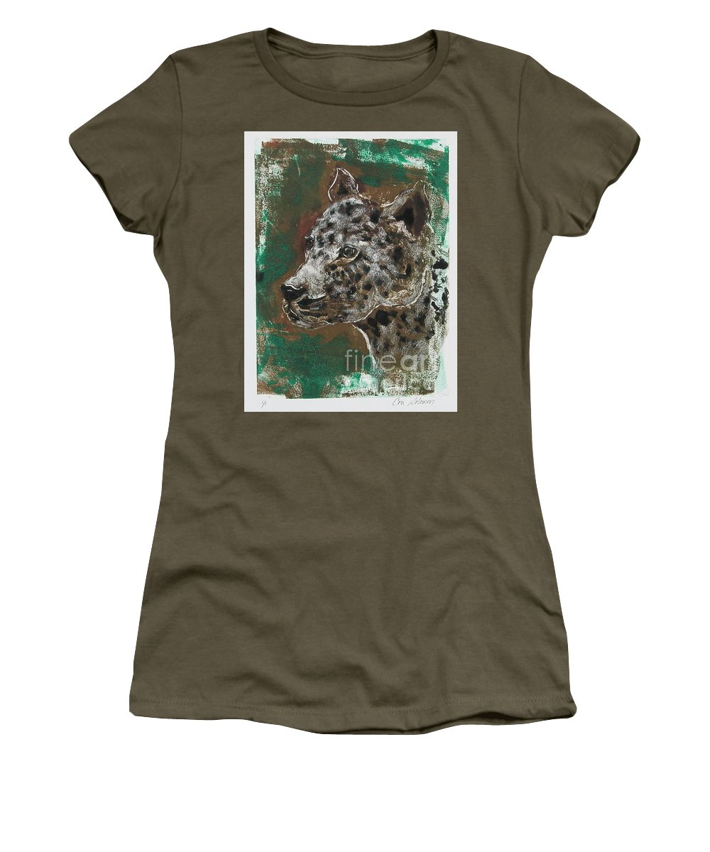 Monotype Women's T-Shirt featuring the mixed media Midnight Prowler by Cori Solomon