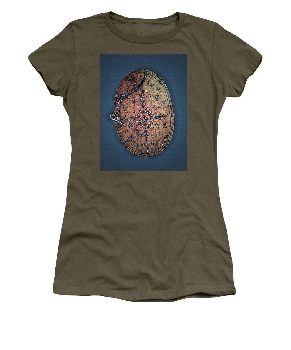 Lapland Women's T-Shirt (Athletic Fit) featuring the photograph Midnight Sun Drum by Merja Waters