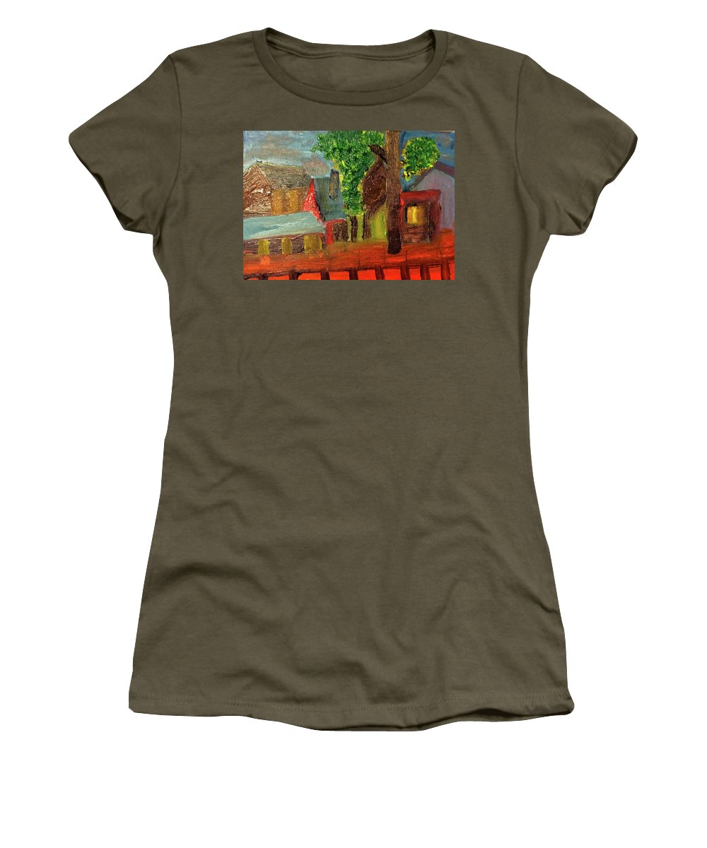Oil Painting Women's T-Shirt (Athletic Fit) featuring the painting Midnight Village by John Russo