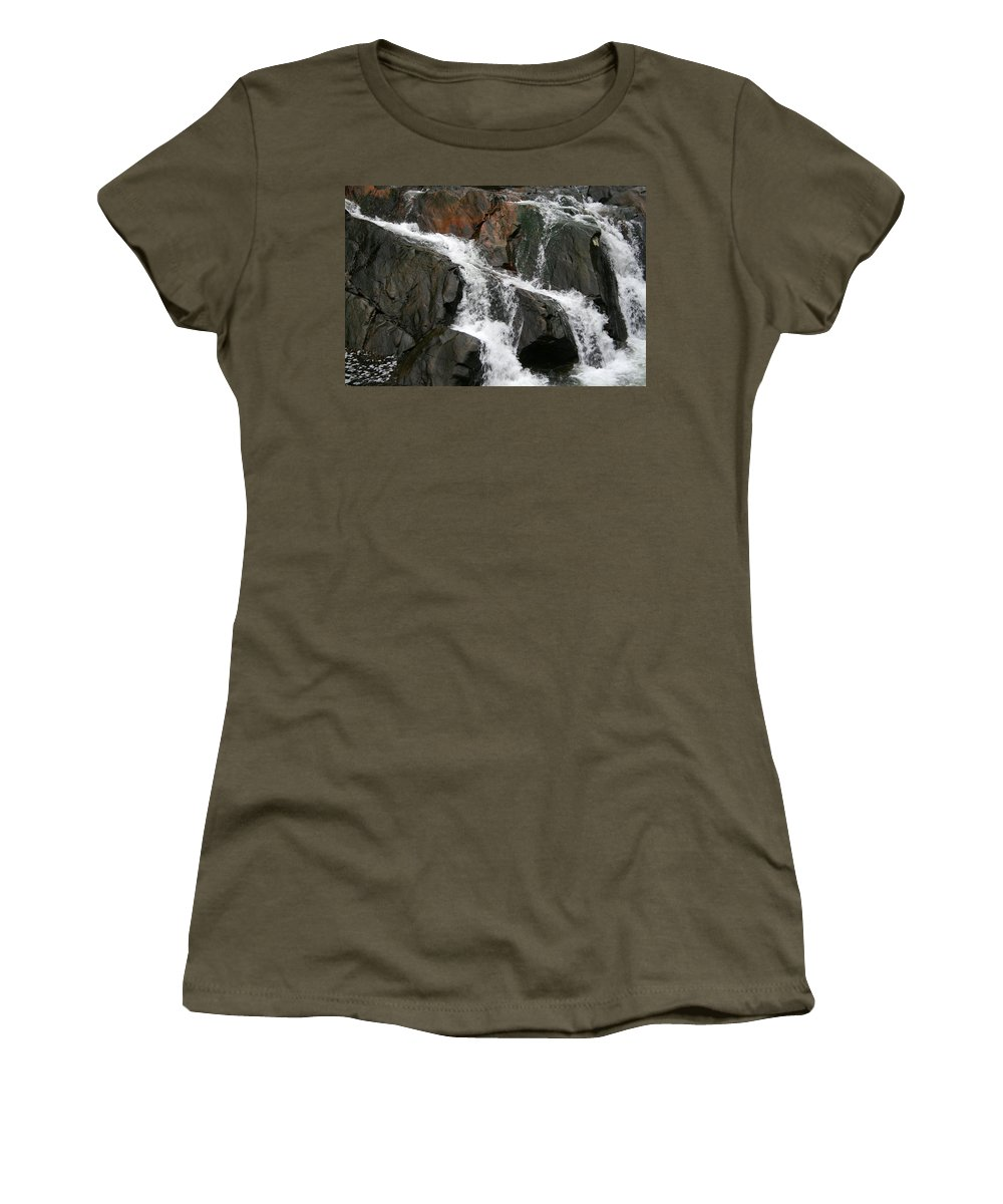 Water Waterfall Rush Rushing Cold River Creek Stream Rock Stone Wave White Wet Women's T-Shirt featuring the photograph Might by Andrei Shliakhau