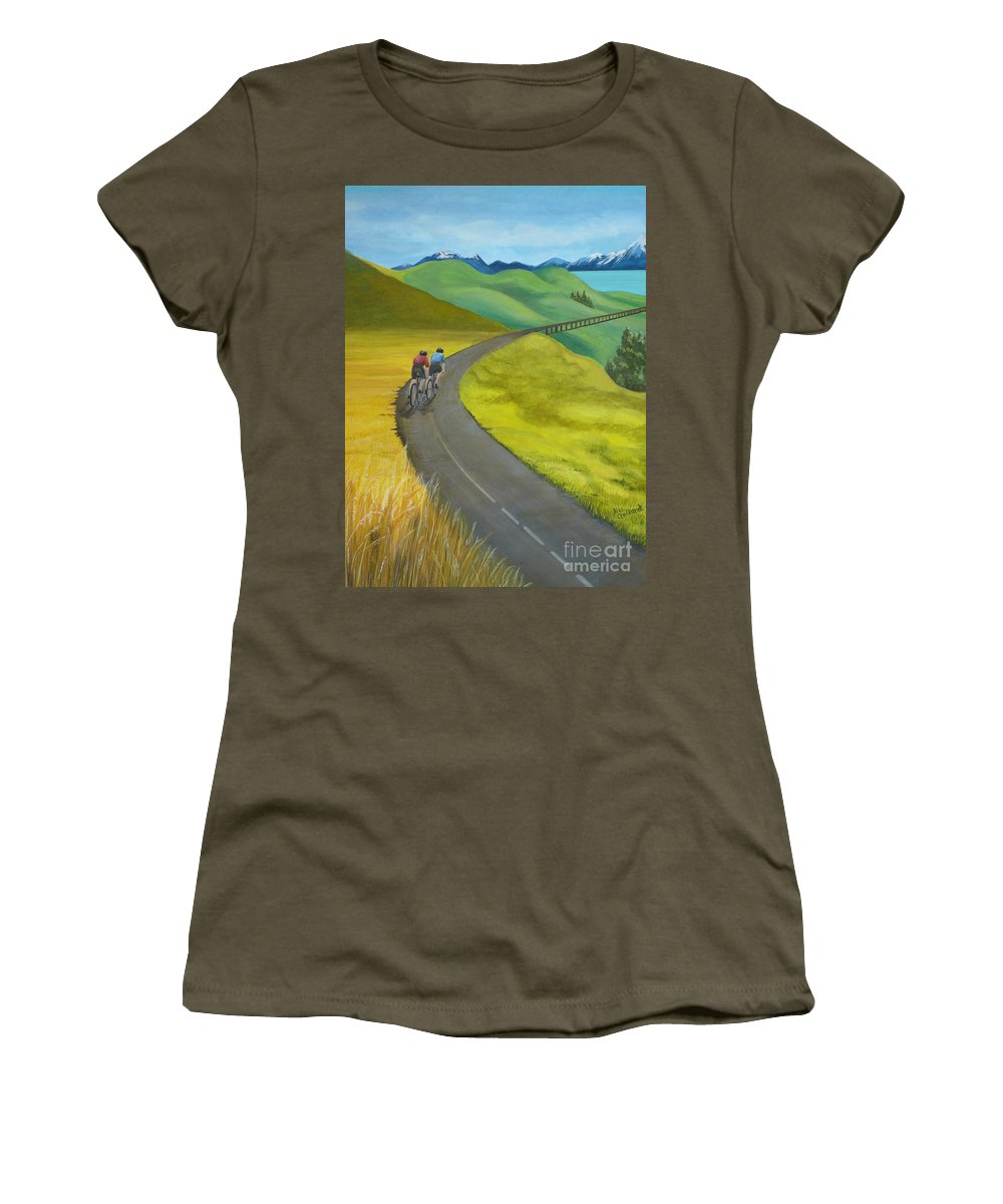 Bicycles Women's T-Shirt (Athletic Fit) featuring the painting Miles To Go by Kris Crollard