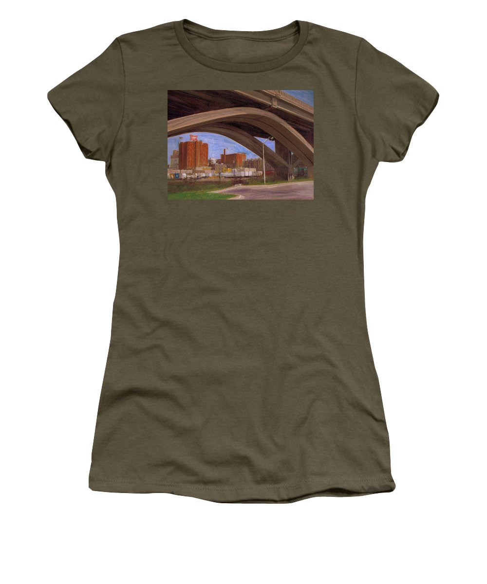 Mixed Media Women's T-Shirt (Athletic Fit) featuring the mixed media Miller Brewery Viewed Under Bridge by Anita Burgermeister