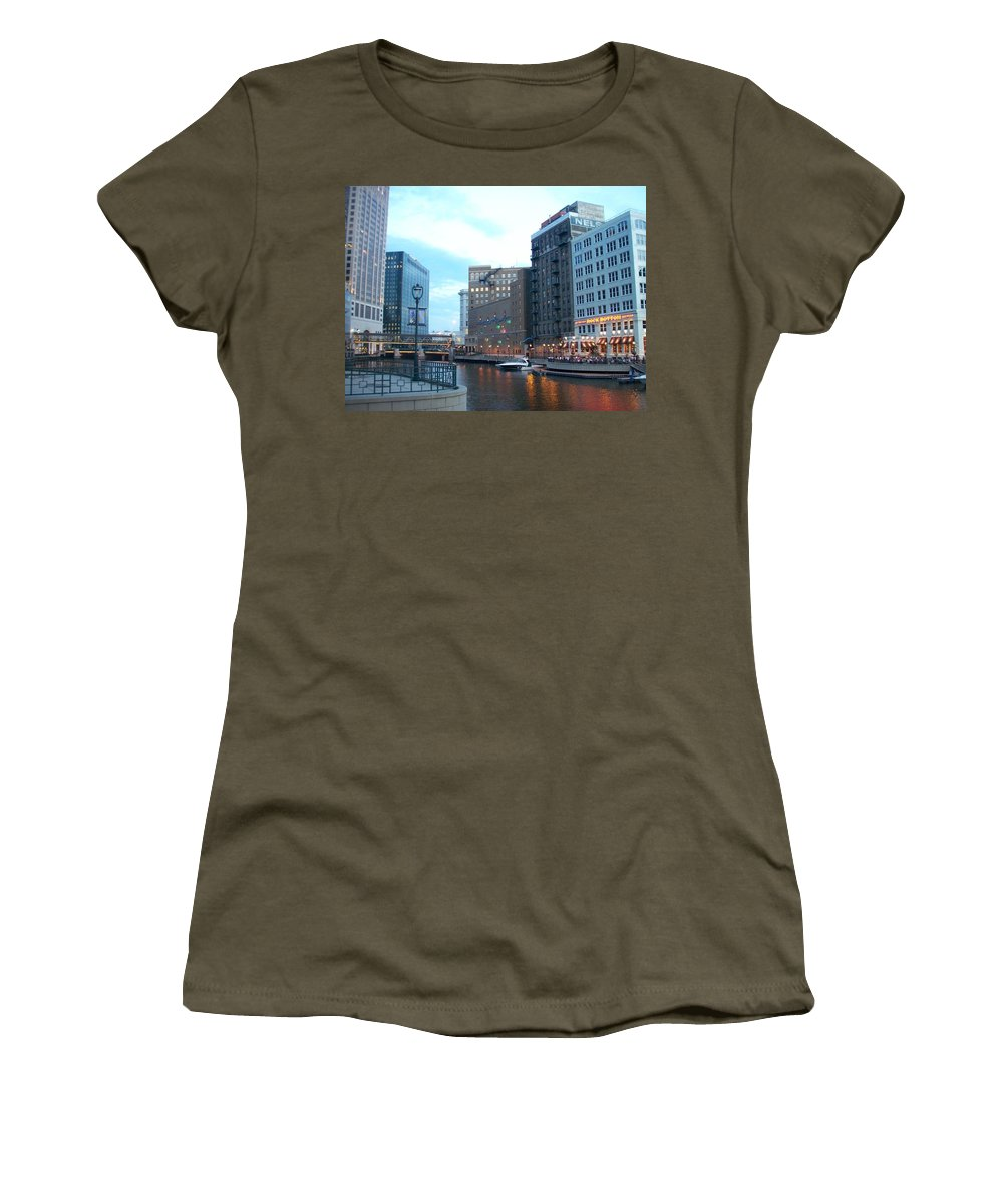 Milwaukee Women's T-Shirt featuring the photograph Milwaukee River Walk by Anita Burgermeister