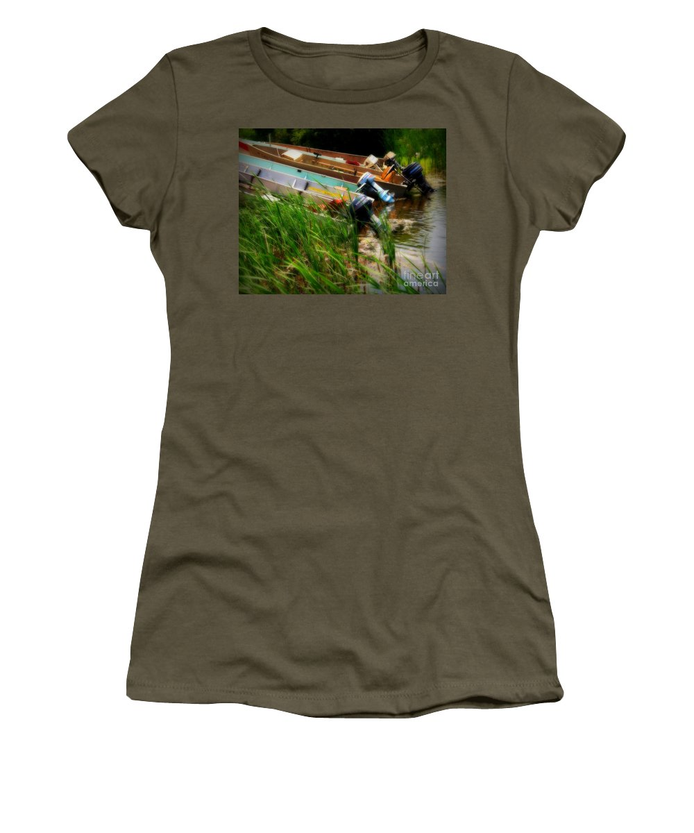 Boat Women's T-Shirt featuring the photograph Minnesota Morning by Perry Webster