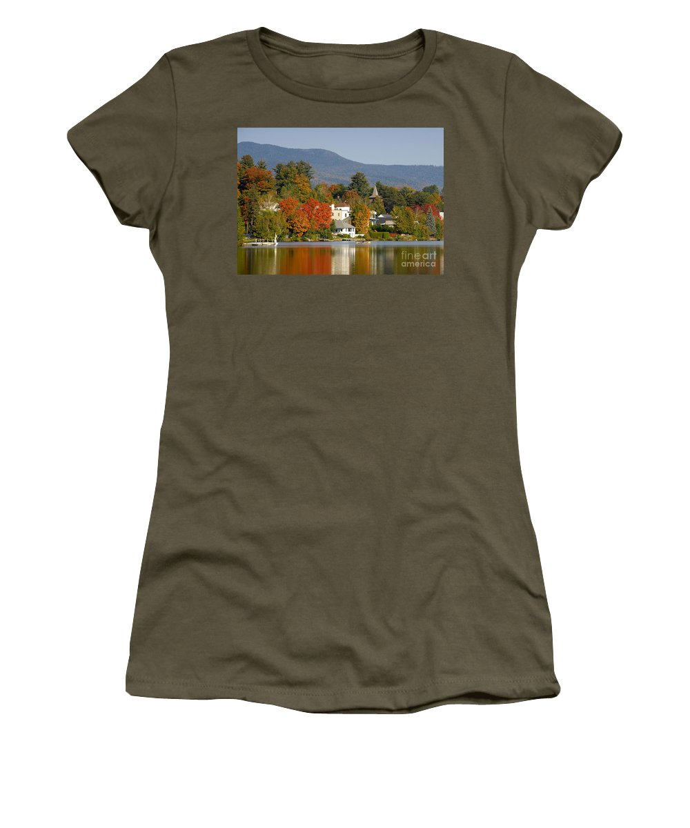 Adirondack Mountains Women's T-Shirt featuring the photograph Mirror Lake by David Lee Thompson