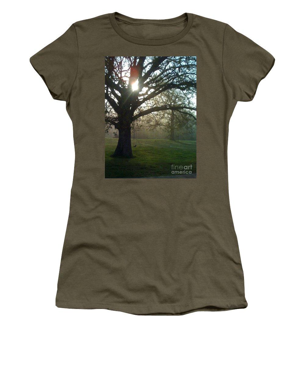 Mist Women's T-Shirt featuring the photograph Misty Morning by Nadine Rippelmeyer