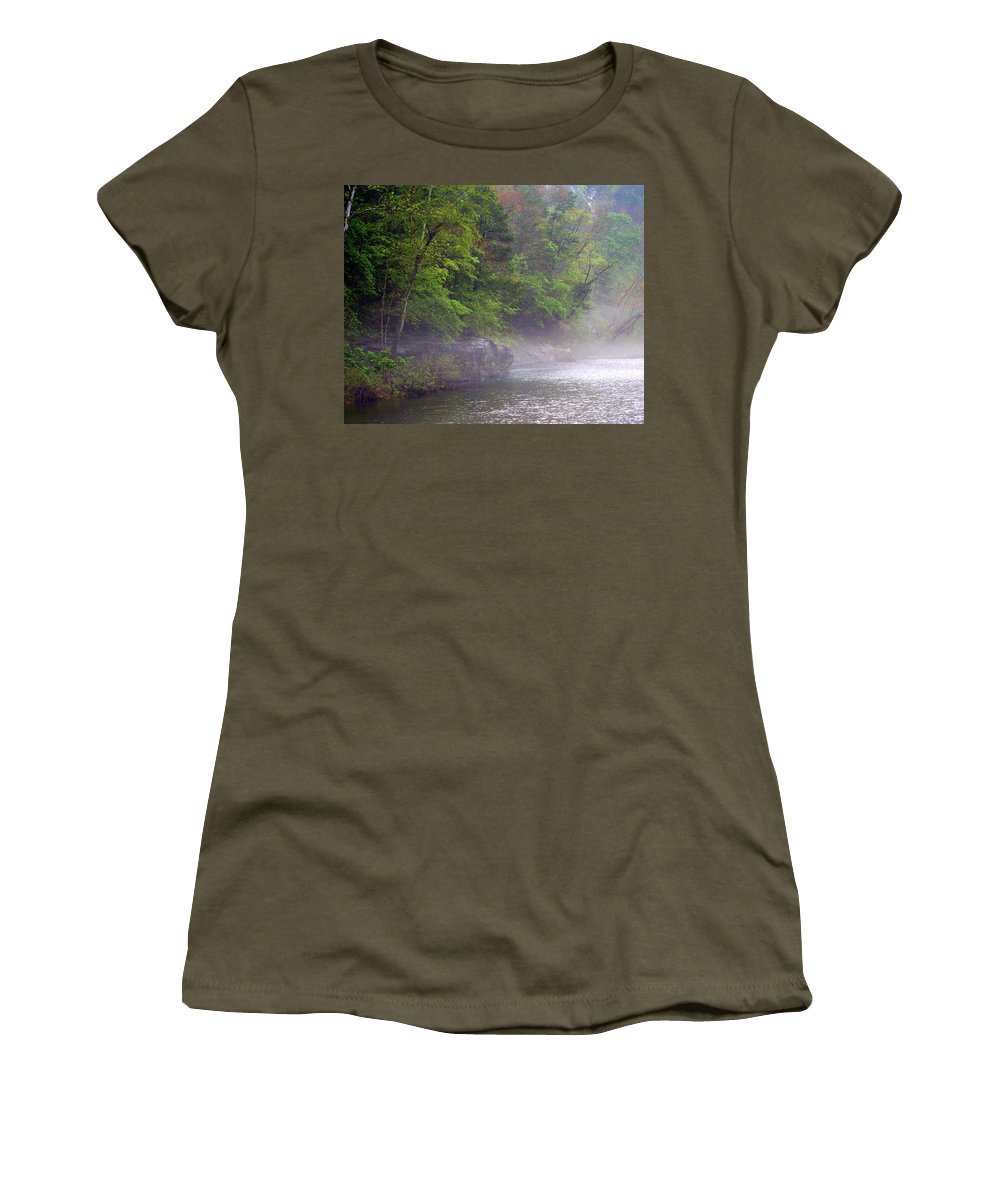 Buffalo National River Women's T-Shirt (Athletic Fit) featuring the photograph Misty Morning On The Buffalo by Marty Koch