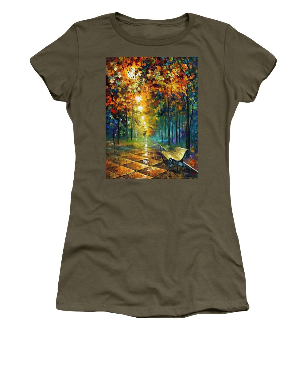 Afremov Women's T-Shirt featuring the painting Misty Park by Leonid Afremov