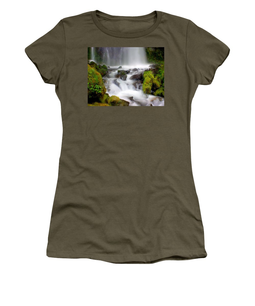 Waterfall Women's T-Shirt featuring the photograph Misty Waters by Marty Koch