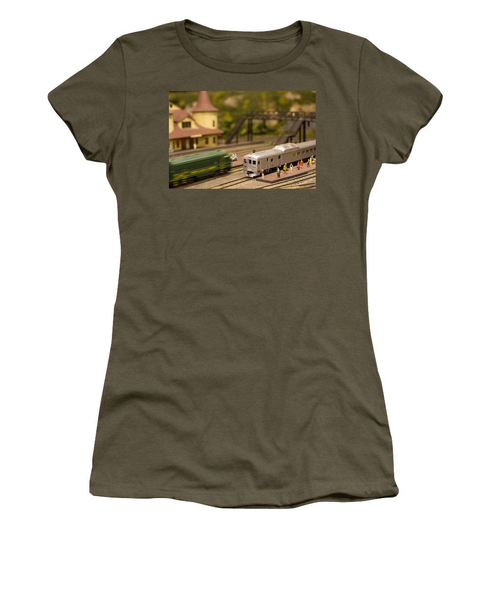Trains Women's T-Shirt featuring the photograph Model Trains by Patrice Zinck