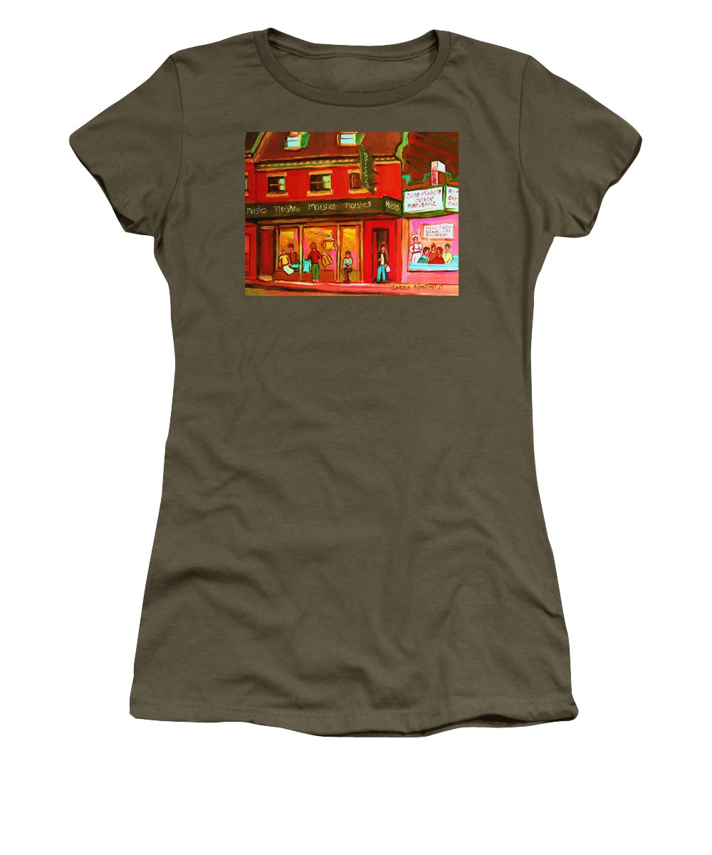 Moishes Women's T-Shirt featuring the painting Moishes Steakhouse On The Main by Carole Spandau