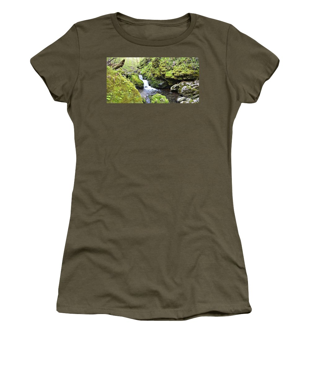 Mossy Women's T-Shirt featuring the photograph Moine Panorama 2 by Bonfire Photography