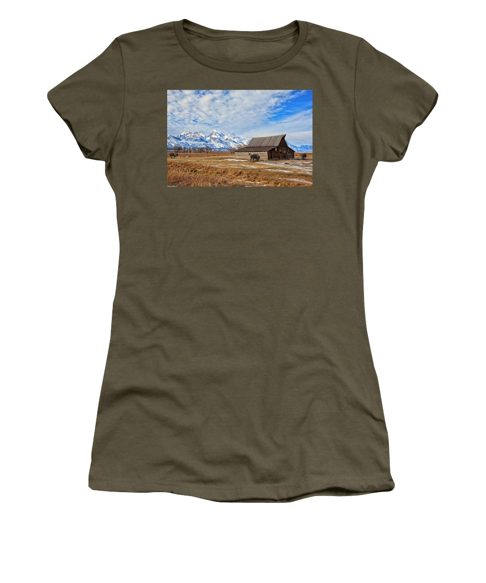 Tetons Women's T-Shirt featuring the photograph Molten Barn And Tetons 4 by Jack Chamberlin