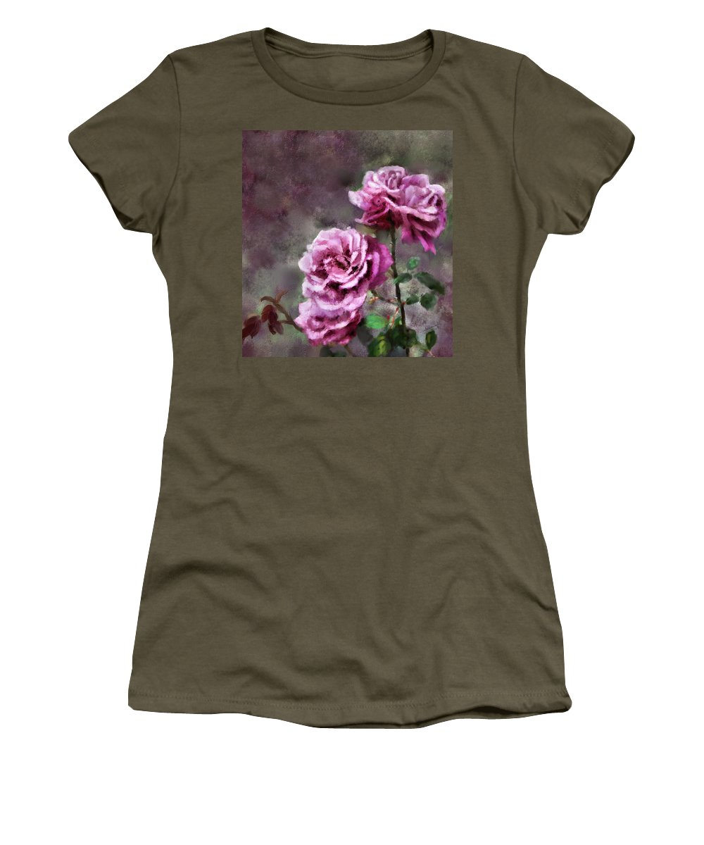 Digital Painting Women's T-Shirt featuring the digital art Moms Roses by Susan Kinney