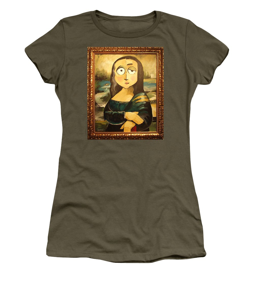 Women's T-Shirt featuring the painting Mona In A Guilded Frame by Tim Nyberg