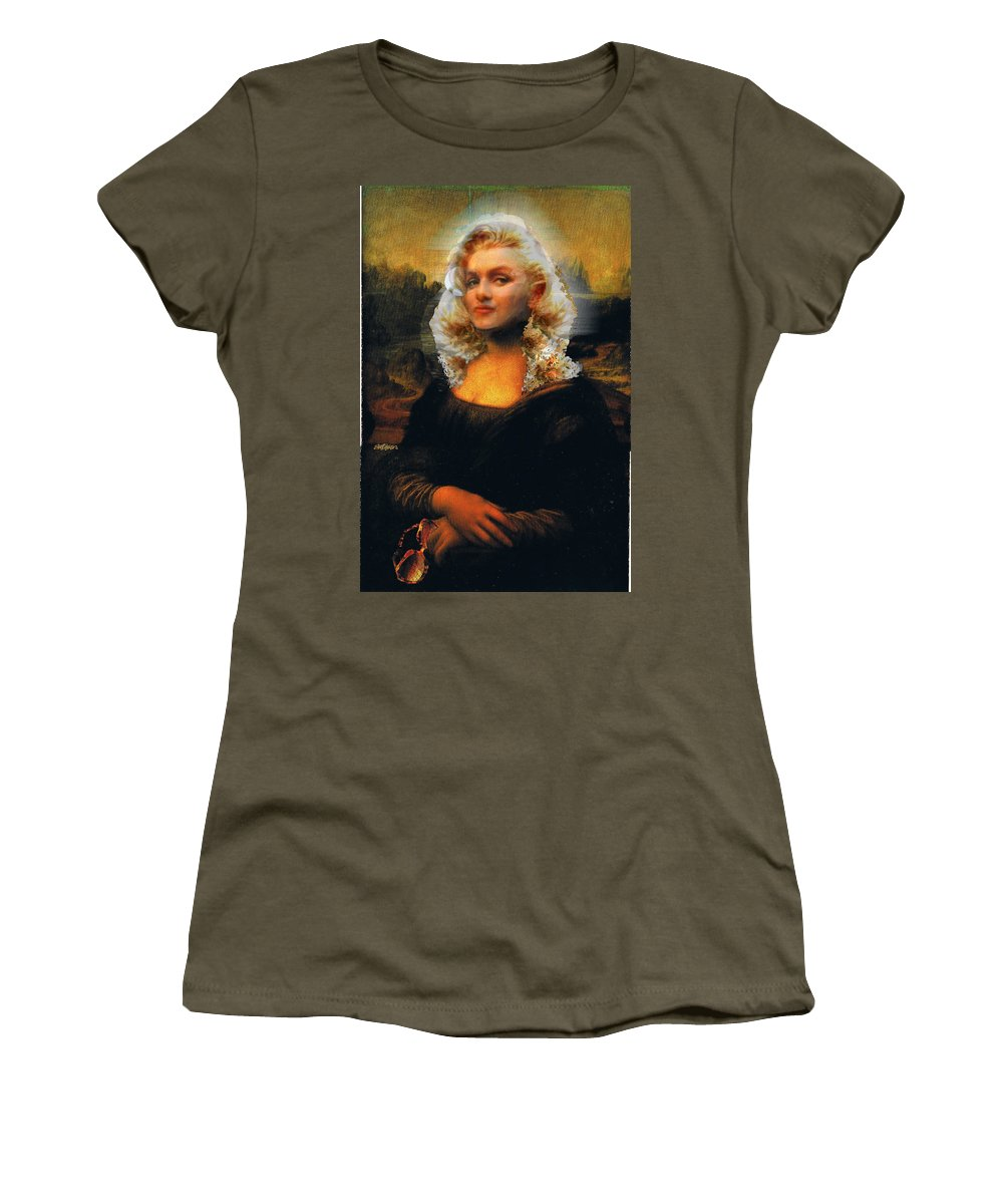 Mona Lisa Women's T-Shirt featuring the digital art Mona Marilyn by Seth Weaver