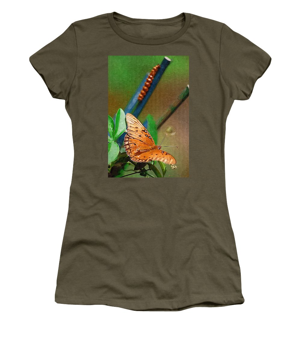 Monarch Women's T-Shirt (Athletic Fit) featuring the photograph Monarch And Caterpillar by Donna Bentley