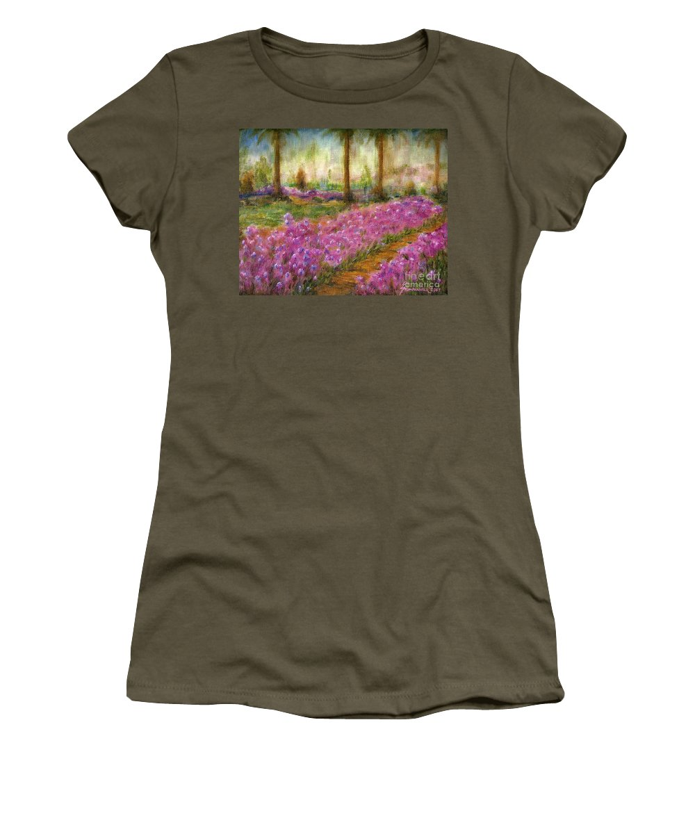 Monet Women's T-Shirt (Athletic Fit) featuring the painting Monet's Garden In Cannes by Jerome Stumphauzer