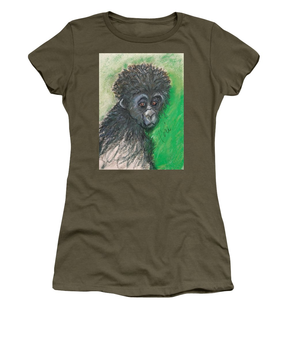 Monkey Women's T-Shirt featuring the drawing Monkey Business by Cori Solomon
