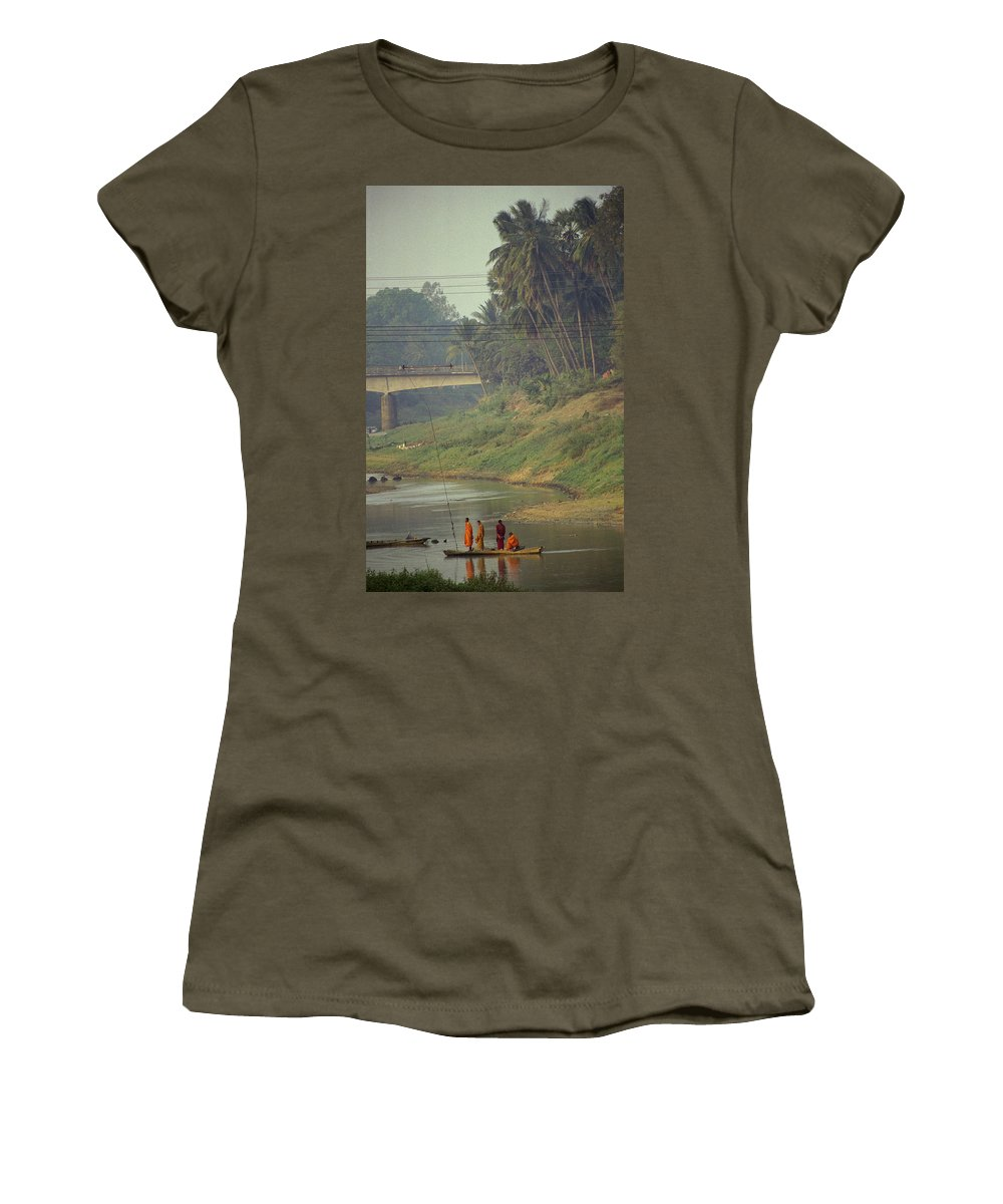 Monks Women's T-Shirt (Athletic Fit) featuring the photograph Monks - Battambang by Patrick Klauss