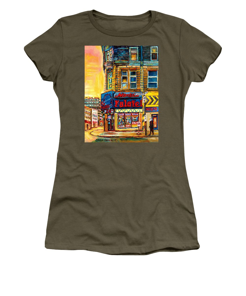 Montreal Women's T-Shirt (Athletic Fit) featuring the painting Monsieur Falafel by Carole Spandau
