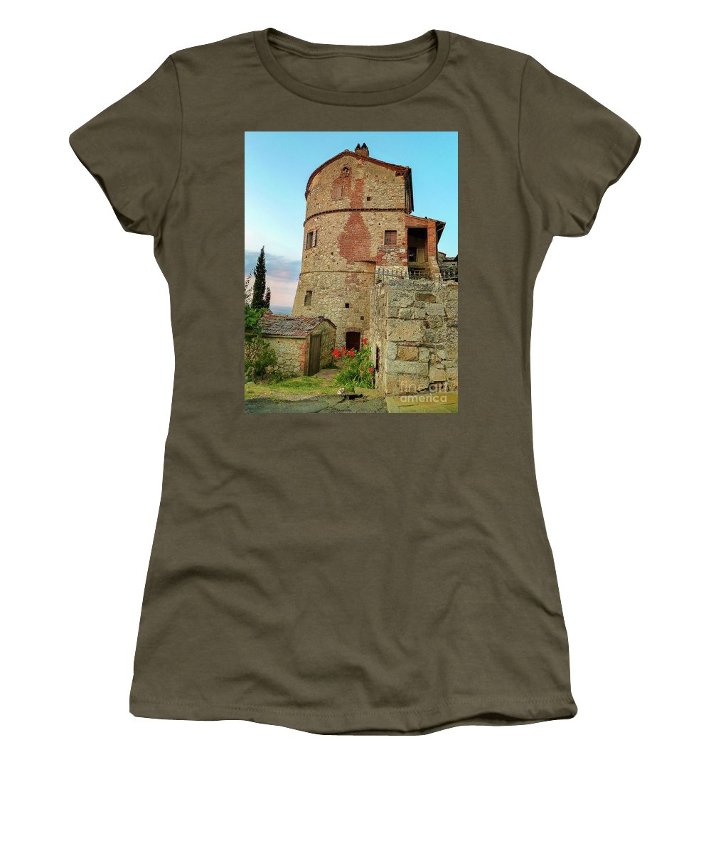 Montefollonico Stone Fortress Women's T-Shirt featuring the photograph Montefollonico Stone Tower And Fortress by Norma Brandsberg