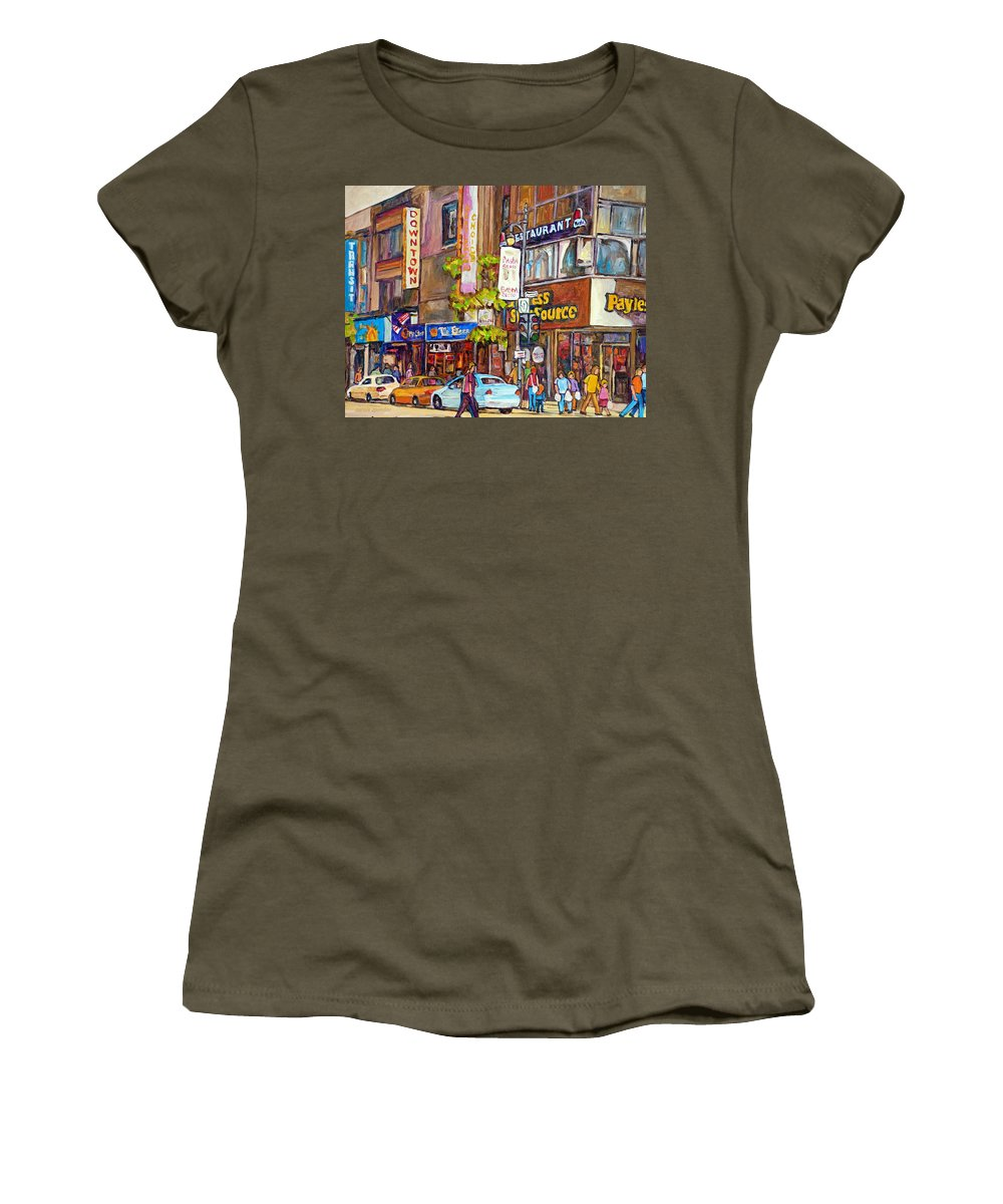 Montreal Women's T-Shirt (Athletic Fit) featuring the painting Montreal St.catherine Street Corner Peel by Carole Spandau