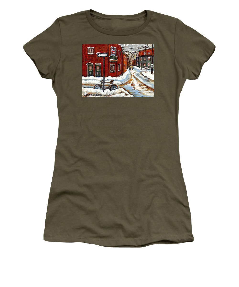 Montreal In Winter Women's T-Shirt featuring the painting Montreal Street In Winter La Ville En Hiver Buy Montreal Paintings Petits Formats Peintures A Vendre by Carole Spandau