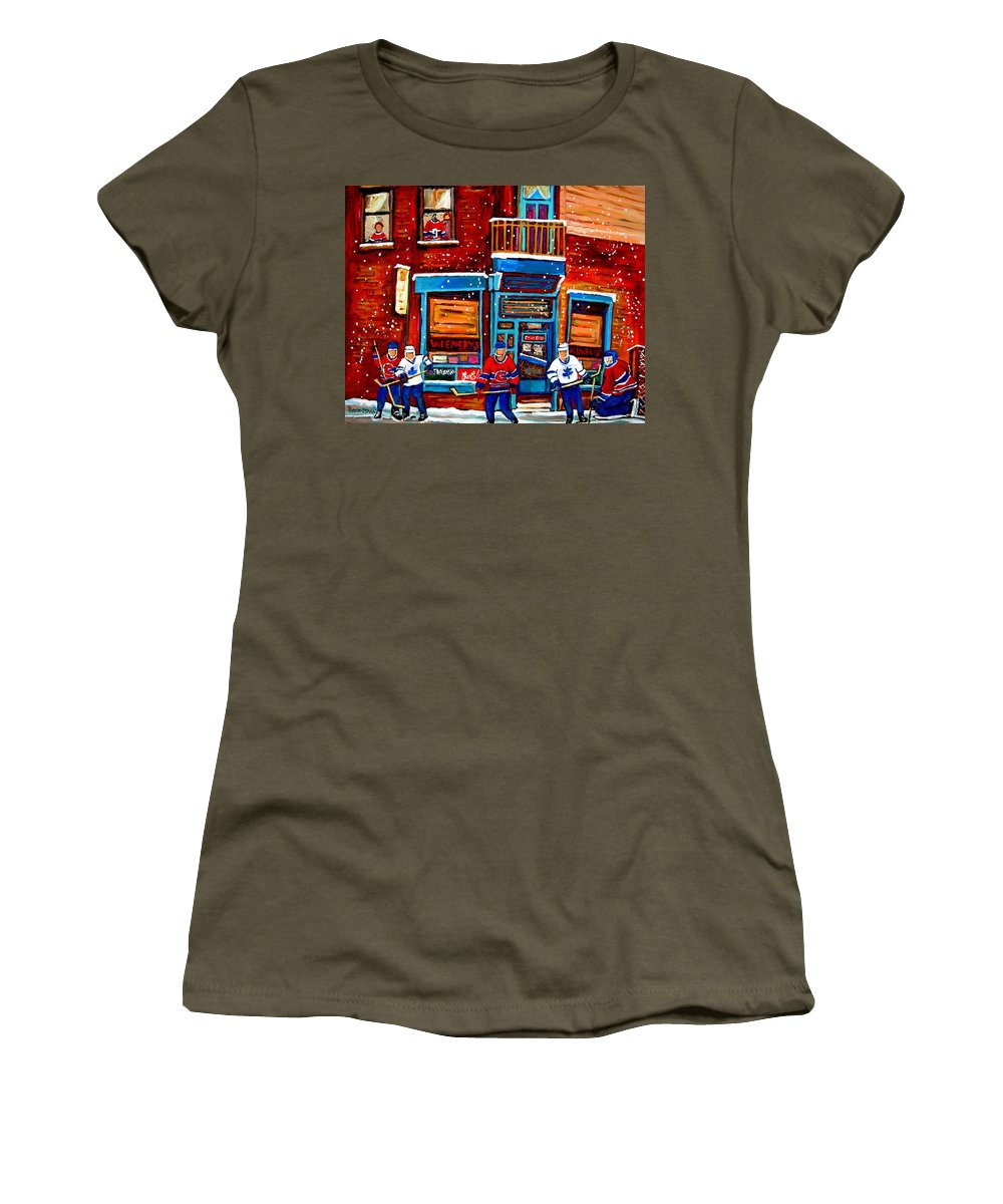 Montreal Women's T-Shirt featuring the painting Montreal Wilensky Deli By Carole Spandau Montreal Streetscene And Hockey Artist by Carole Spandau
