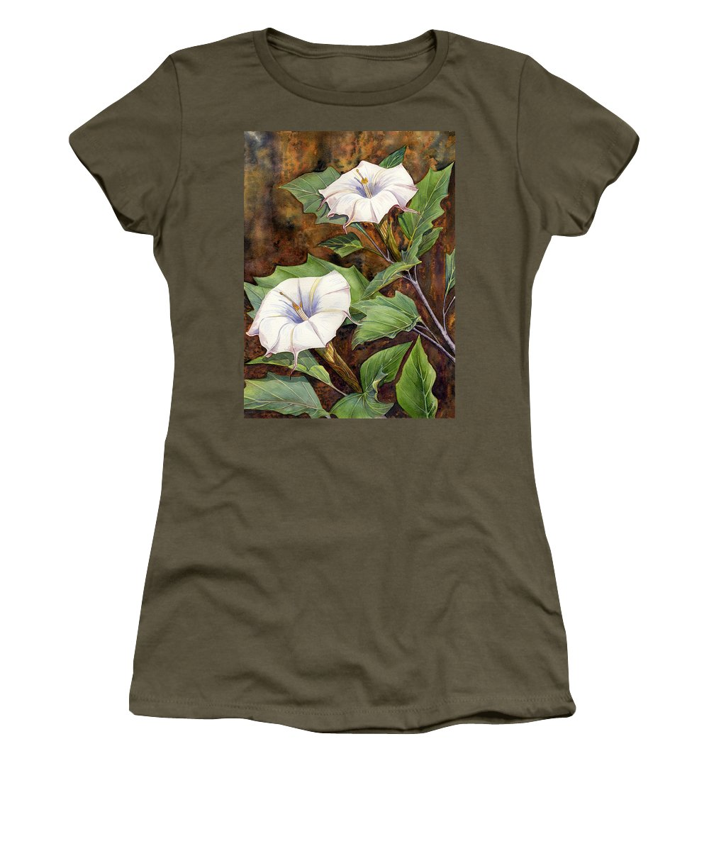 Sacred Datura Women's T-Shirt (Athletic Fit) featuring the painting Moon Lilies by Catherine G McElroy