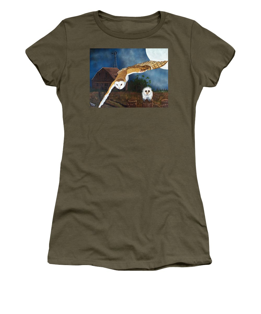 Owl Women's T-Shirt featuring the painting Moonlit Flight by Debbie LaFrance